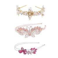 ab alloy hair - Red Crystal Flower AB Diamond Butterfly Hair Hoop Elegant Headdress Mature Female Hair Beauty Dance Party