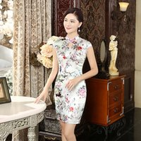 Wholesale 2016 new wind China short silk silk Vintage cheongsam dresses dress boutique daily improvement