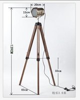 Wholesale America Countryside Wooden Tripod Triangle Lifting Adjustable Base Structure Metal Lamp Head SearchLights Floor Lights Lamp Indoor Lighting