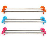 Wholesale Brand New Suction Cup Wall Mounted double rail rack Bathroom Towel Rail Holder Storage Racks cm