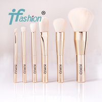 beauty foundation pieces - KIKO Haute Punk Gold Pieces Face Brush Kit Set Powder Blush Foundation Eyeshadow Brush Quality Beauty Makeup Brushes Blender