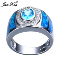 aquamarine opal jewelry - Aquamarine Round Female Opal Ring New Charming Sterling Silver Jewelry Party Wedding Rings For Men And Women RS0011