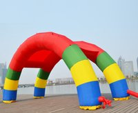 inflatable advertising arches prices - Wholesale-Discount Twin Arches 26ft*13ft D=8M 26ft inflatable Rainbow arch Advertising Fast Free shipping