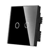 Wholesale Lighting Accessories Switches Gang Way Crystal Glass Panel Touch Screen wall Switch UK Standard easy for install for smart house