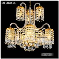 Wholesale Classic Golden Crystal Chandelier Lighting Lights Lustre Hanging Crystal Light Fixture for Lobby MD88011 D540mm H550mm