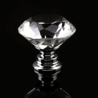 Wholesale 30mm Diamond Shape Crystal Glass Knob Cupboard Drawer Pull Handle New Building Supplies Door Hardware Home Decor