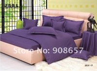 Wholesale medium purple stripes sateen quilt duvet covers sets pc with flat sheet fitted sheet pillow shams for comforter home textile