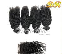 Bon Marché Peut teindre remy extensions de cheveux-Extension de cheveux de Virgin Cheveux de haute qualité Fermeture 4pcs + 1pc Kinky cheveux bouclés de cheveux de Remy Peruvian cheveux humains avec la teinture de cheveux de fermeture peut être teint