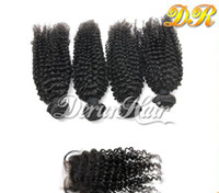 Wholesale Virgin Hair Extension High Quality Hair Top Closure pc Kinky Curly Remy Hairs Peruvian Human Hair With Closure Hair Weave Can Be Dyed