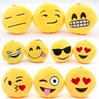 achat en gros de gros ronds décorations de noël-Vente en gros-Hot Sale Cute Emoji Smiley Smiley Emoticon Pendentif Jaune Ronde Poupée Toy Toy Ornements Cadeau De Noël 7YIL 92OT