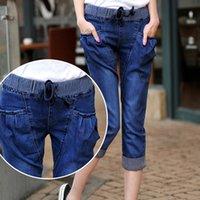 Wholesale Women s Jeans Plus Size Slim Casual Capri Pants Elastic Waist Stretch Denim Harem Pants
