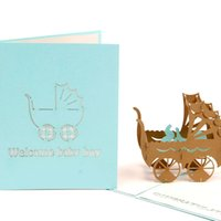baby carriage invitations - 10pcs Pink blue Laser Cut Baby Shower Invitations D Cubic Baby Carriage Kids Birthday Greeting Cards