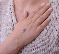 Wholesale Bracelets Bangles Jewelry Brief Fashion Women Punk Blue Eye Gold Plated Chains Finger Combined Alloy Bracelets BR371