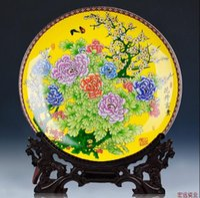Wholesale 02 Jingdezhen ceramics powder enamel flower decoration plate Home decorative arts and crafts