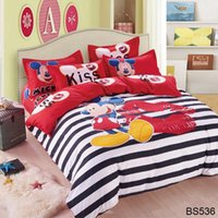 bedspreads and comforter sets - Cotton bed linen mickey and minnie kids mouse bedding sets white and black duvet cover set queen twin size bedspread