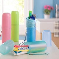Wholesale Hot New Fashion Use Travel Toothbrush holder Toothpaste Towel Plastic Tooth Case Cover Cup Camping