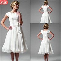 Wholesale 2016 Cheap White Chiffon Knee Length Short Beach Wedding Dresses with Sash Plus Size A Line Sleeveless Boho Bridal Gowns Custom Made Vestido