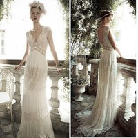 Cheap 2016 Boho Wedding Dresses Lace Chiffon Wedding Gown Backless V Neck Hollow Beaded A Line Sweep Train Beach Bridal Dress Vintage 7069