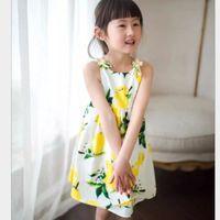 Cheap 2016 Baby Girls New Summer Style Hot Sale Sleeveless Dress Cute Backless Dress Fashion Girls Fruit Prited Dress Sweet A-Line Dress