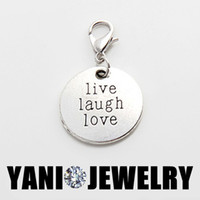 antique vintage lockets - Round Antique Vintage Silver Alloy Charm Round Live Laugh Love Dangle Charm Pendant for Glass Living Locket