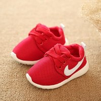 Wholesale children spring autumn kids casual lae up mesh letters candy color baby boys breathable sport shoes girls fashion sneakers