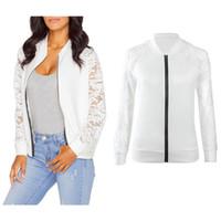 basic baseball - Bomber Jacket Women Hot Autumn Long Sleeve Lace Cardigan Zipper Jacket Outwear Casual Black White Baseball Short Basic Coat