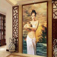 Wholesale Large Custom Mural Wallpape European Oil Painting Figures Entrance Corridor Decorative Painting Hotels Backdrop Photo Wallpaper