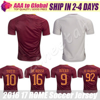 Soccer Men Short TOTTI Soccer Jersey 2017 Red Calcio Maglia DE ROSSI EL SHAARAWY DZEKO Football shirts Free Shipping