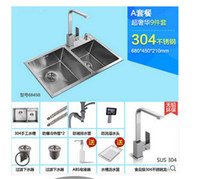 Wholesale Luxury set Brushed Stainless Steel Double Bowl Undermount Sink with Faucet kitchen Sink