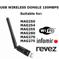 Wholesale 150m High Quality Mag250 Wifi Usb Adapter Dongle For Statellite Receivers Iptv STB DVR Dreambox Vu