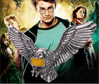 big hawk - 12pcs vintage silver plated alloy Movie Harry Potter Messenger owl hawk yellow Letter in pigeon eagle mouth big pendant necklace women x179