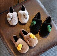 Wholesale New Winter Autumn Genuine Rabbit fur Original Leather Shoes Kids Footwear Great Quality Anti slip Boots Children Shoes CN size