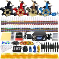 Wholesale solong tattoo Newest Complete Tattoo Kit Pro coil Machine Guns Inks ML Power Supply Needle Grips TK458