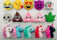 bank boxes - Emoji Chargers mah powerbank soft PVC unicorn poop devil horse skull power bank smart phone charger with box