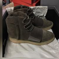 Venta al por mayor La mejor versión Kanye West 750 alza marrón, zapatillas de deporte de alto calzado, zapatos de moda, hombres y botas de mujer calzado venta caliente 750 aumentar