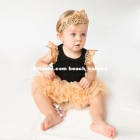 baby haircut style - DHL new baby clothing sets cotton jumpsuits rompers sleeveless solid lace wings haircut girls children clothes skirt hairband rompers