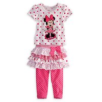 Wholesale Baby girls Mickey Minnie Mouse Bows Children s clothing Set Dress Polka Dot T shirt Tutu Skirt Leggings Pants cm