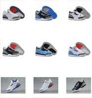 Niños juegos niños España-La alta calidad embroma los zapatos de baloncesto 3 retros de los zapatos de baloncesto de los niños Zapatillas de deporte de calidad superior de las muchachas de los muchachos Juego Playoff Golf Zapatos grises con la caja