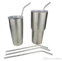 Wholesale 304 Stainless Steel Yeti Straws Reusable Bend Drinking Straws Different Long Straws Brushes for oz oz YETI Cups