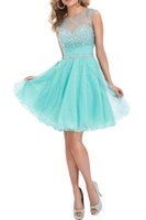Wholesale 2016 New Summer Homecoming Dresses Cheap Beaded Sheer Crew Neck Mini Chiffon A line Backless Short Cocktail Party Dresses CPS170