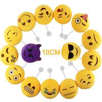 Sourire vidéo Prix-Haute Qualité 10CM Emoji voiture Pendentif Oreiller sourire visage peluche peluche porte-clés avec bâton ventouse Emotion Coussin Cadeau de Noël Kid