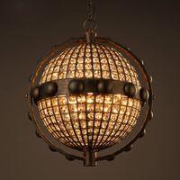 Wholesale Creative crystal globe ball chandelier pendant lamp living room restaurant retro personality Restaurants Cafes iron pendant light