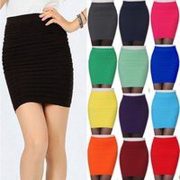 Wholesale Hot New Fashion Women Ladies Sexy Pencil Skirt Seamless Elastic Pleated High Waist Slim Mini Skirts For Office Party Cheap Z2
