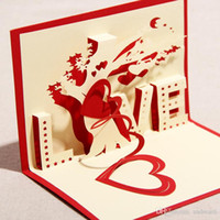 Wholesale Newest D handmade greeting cards Valentine s Day Love Tree art craft Carving Postcards for Romantic lovers Propose card