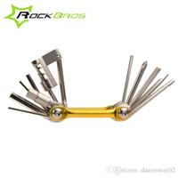 Wholesale ROCKBROS in Cr Mo Metallic Bike Multi Function Mini Pocket Tool Bicycle Repair Tools Ferramentas Set Kit Hex Opener