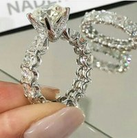 Wholesale Real Sterling Silver Ring Engagement Fashion jewelry New Brand Design K White Gold GF Swarovski the whole row with color cz