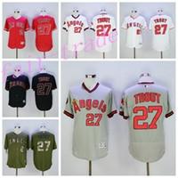 achat en gros de anges anaheim jersey xxl-Les Angeles Angels 27 Mike Trout Jersey Flexbase LA Angels Mike Trout Maillots de base-ball Coll Base de Anaheim Pull blanc Rouge Gris