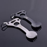 Wholesale Camping Spoon Tool - New CRKT spoon Fork multi function tableware bottle opener carabiner spanner outdoor EDC camping hiking hunting hand tools