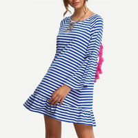 backless shift dress - Sexy Striped Backless Dresses Tassel Straight Summer Style New Beach wear Women Long Sleeve Blue White Shift Dress