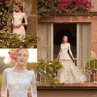A-Line autumn wedding themes - 3 Long Sleeve Pastoral Theme Romantic Wedding Dresses with Lace Appliques Floral A Line Tulle Bohemian Bridal Gowns Custom Made